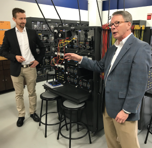 Dr. Alex Lemken, ioxp GmbH co-founder (left), and Philip Riddle, SeeDaten president and CEO (right), present new state-of-the art technology at SCC